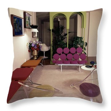A Retro Living Room Throw Pillow