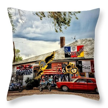 A Ride On Route 66 Throw Pillow by Tricia Marchlik
