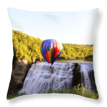 A Ride Over The Falls Throw Pillow
