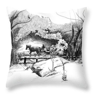 A Ride Through Central Park Throw Pillow