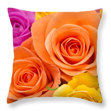 A Riot Of Roses Throw Pillow by Anne Gilbert