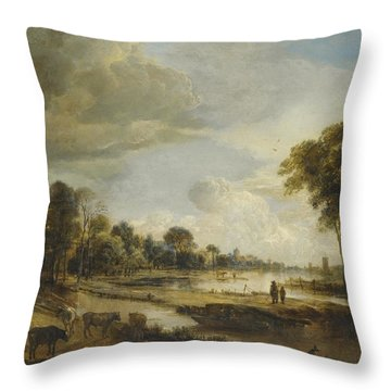 Throw Pillow featuring the painting A River Landscape With Figures And Cattle by Gianfranco Weiss