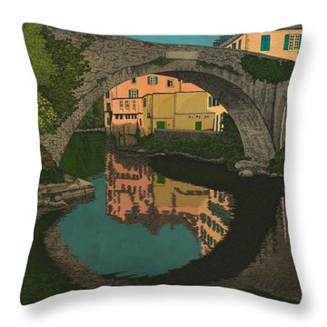 Throw Pillow featuring the drawing A River by Meg Shearer