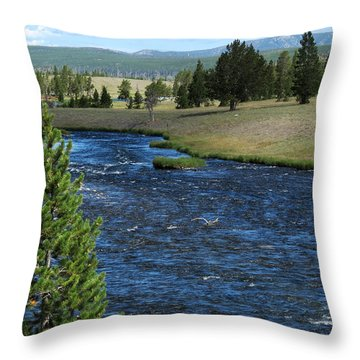 Throw Pillow featuring the photograph A River Runs Through Yellowstone by Laurel Powell