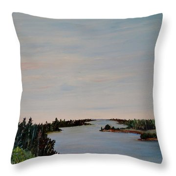 Throw Pillow featuring the painting A River Shoreline by Marilyn  McNish
