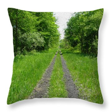 A Road Painted - Digital Painting Effect Throw Pillow by Rhonda Barrett