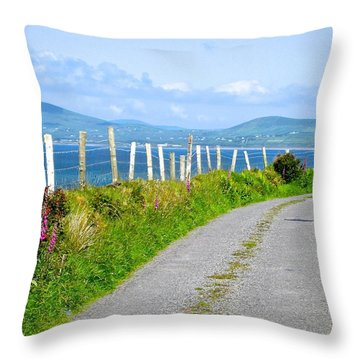 A Road To Waterville Throw Pillow by Suzanne Oesterling