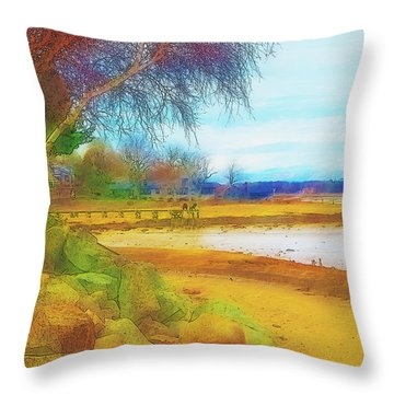 A Rocky Beach Throw Pillow