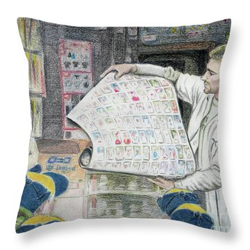 Throw Pillow featuring the drawing A Roll Of Baseball Cards by Yoshiko Mishina