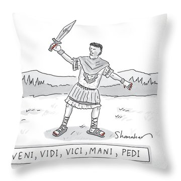 A Roman Soldier With Painted Red Toenails Throw Pillow