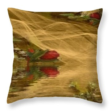 A Rose Bud Stream Throw Pillow by Ray Tapajna