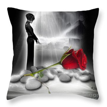 A Rose For Whitney - Fantasy Art By Giada Rossi Throw Pillow