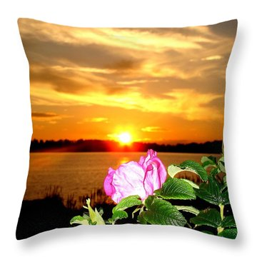 A Rosy Sunset In Maine Throw Pillow