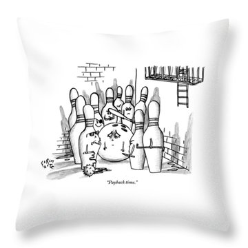 A Rough Gang Of Ten Bowling Pins Holding Weapons Throw Pillow