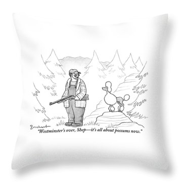 A Rough-looking Man Holding A Shotgun Speaks Throw Pillow