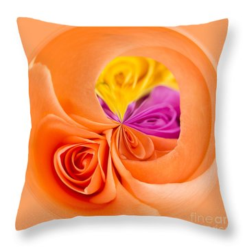 A Round Of Roses Throw Pillow by Anne Gilbert