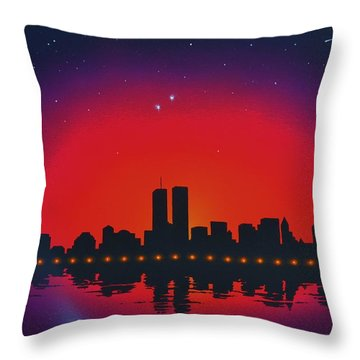 A Salute To The Twin Towers Throw Pillow