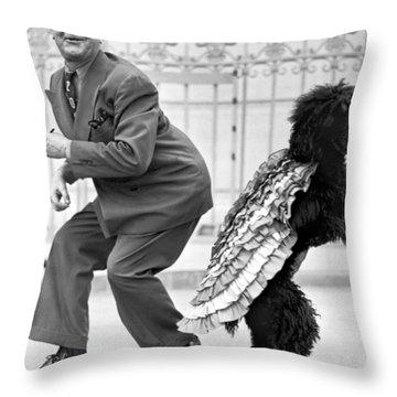 A Samba Stepping Black Poodle Throw Pillow