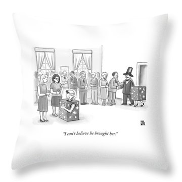 A Sawed-in-half Magician's Assistant Scowls Throw Pillow by Paul Noth