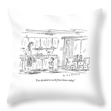 A Schoolboy Speaks To His Mother In The Kitchen Throw Pillow