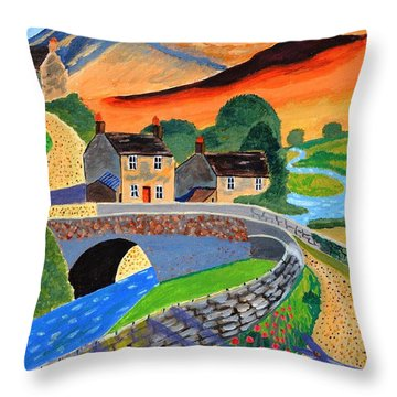 a Scottish highland lane Throw Pillow