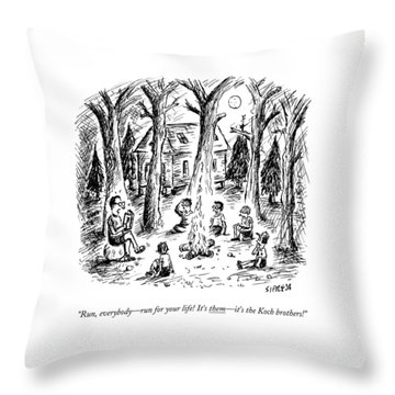 A Scout Leader Tells A Group Of Young Campers Throw Pillow