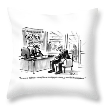 A Scrooge-like Old Man Consults With A Bank Throw Pillow