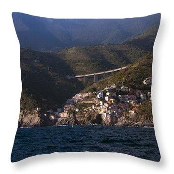 A Sea View Of Riomaggiore Throw Pillow
