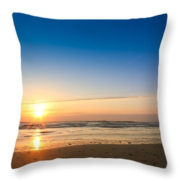 A Seagull Watching The Atlantic Sunrise Throw Pillow