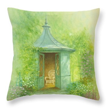 A Seat In The Summerhouse Throw Pillow by Garry Walton