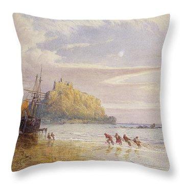 A September Evening, St Michaels Mount, Cornwall Throw Pillow