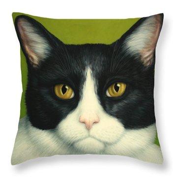 A Serious Cat Throw Pillow