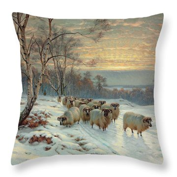 A Shepherd With His Flock In A Winter Landscape Throw Pillow by Wright Baker