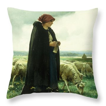 A Shepherdess With Her Flock Throw Pillow by Julien Dupre