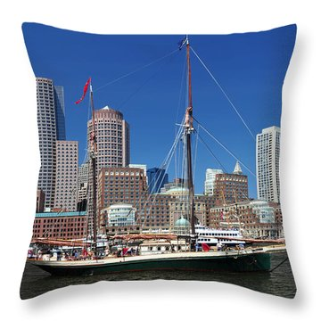 A Ship In Boston Harbor Throw Pillow