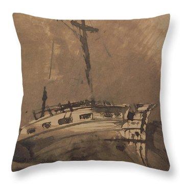 A Ship In Choppy Seas Throw Pillow