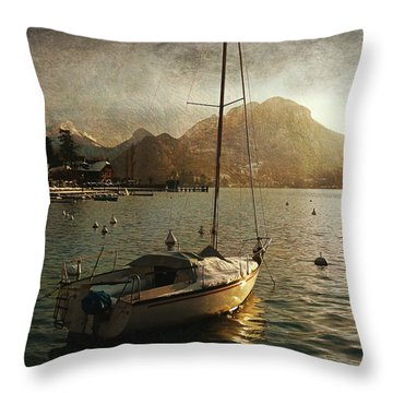 Throw Pillow featuring the photograph A Ship In Port by Barbara Orenya