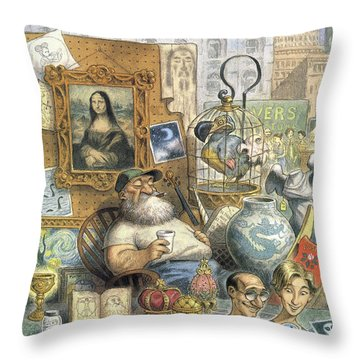 A Shopkeeper Sells Odd Items Throw Pillow