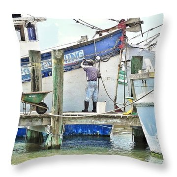 A Shrimper's Work Is Never Done Throw Pillow