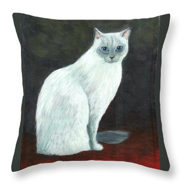 A Siamese Cat On Red Mat Throw Pillow