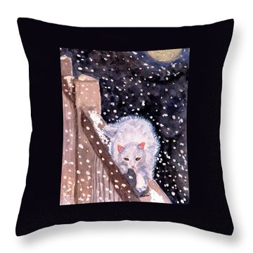 Throw Pillow featuring the painting A Silent Journey by Angela Davies