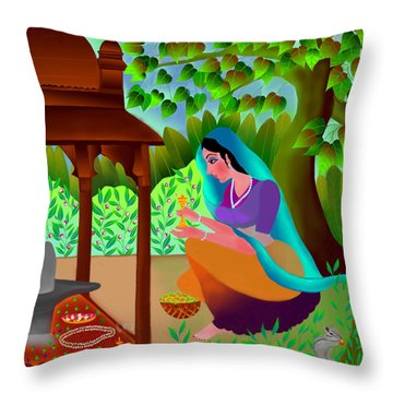 A Silent Prayer In Solitude Throw Pillow by Latha Gokuldas Panicker