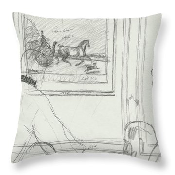 A Sketch Of A Horse Painting At A Bar Throw Pillow
