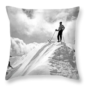 A Skier On Top Of Mount Hood Throw Pillow