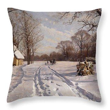 A Sleigh Ride Through A Winter Landscape Throw Pillow by Peder Monsted