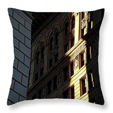 A Sliver Of Light In Manhattan Throw Pillow by James Aiken