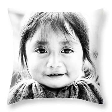 A Small Guatemalam Life - Black And White Throw Pillow by Shelby  Young