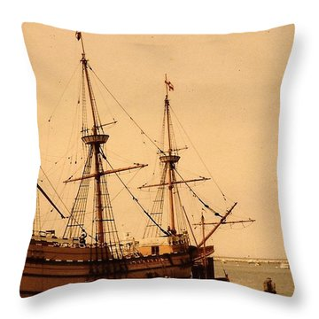A Small Old Clipper Ship Throw Pillow