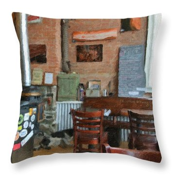 A Small Town Brewing Company Throw Pillow by Image Takers Photography LLC - Carol Haddon