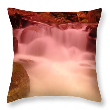 A Small Waterfall Along The Old North Cascade Highway  Throw Pillow by Jeff Swan